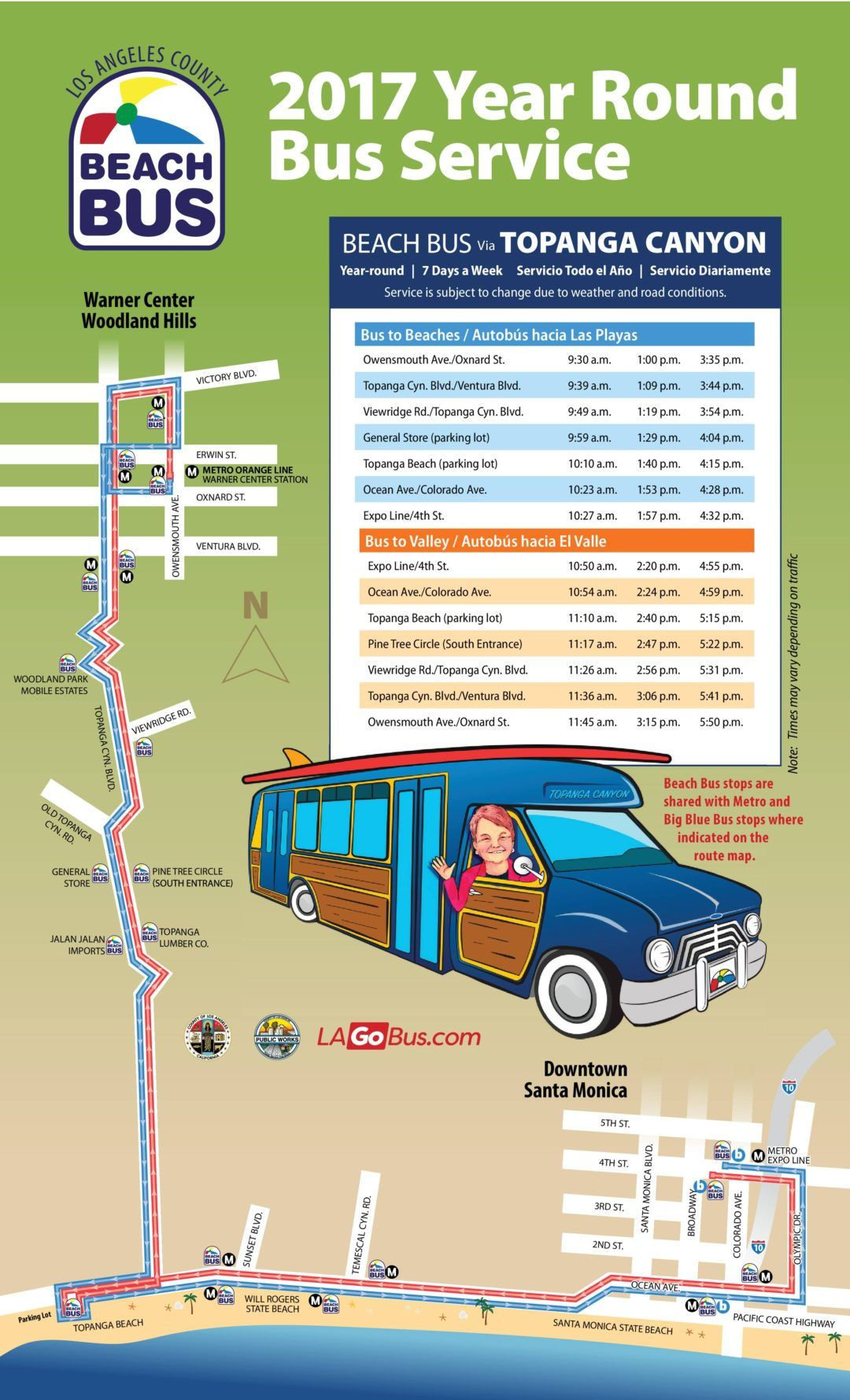 1 Beach Bus From Woodland Hills To Santa Monica Goes Year Round