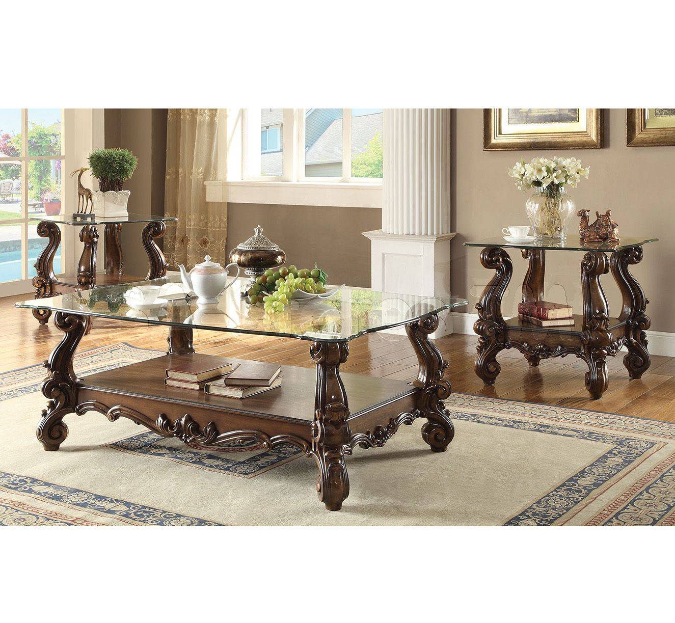 Best Acme Furniture Versailles 3 Pc Clear Glass Coffee Table 640 x 480