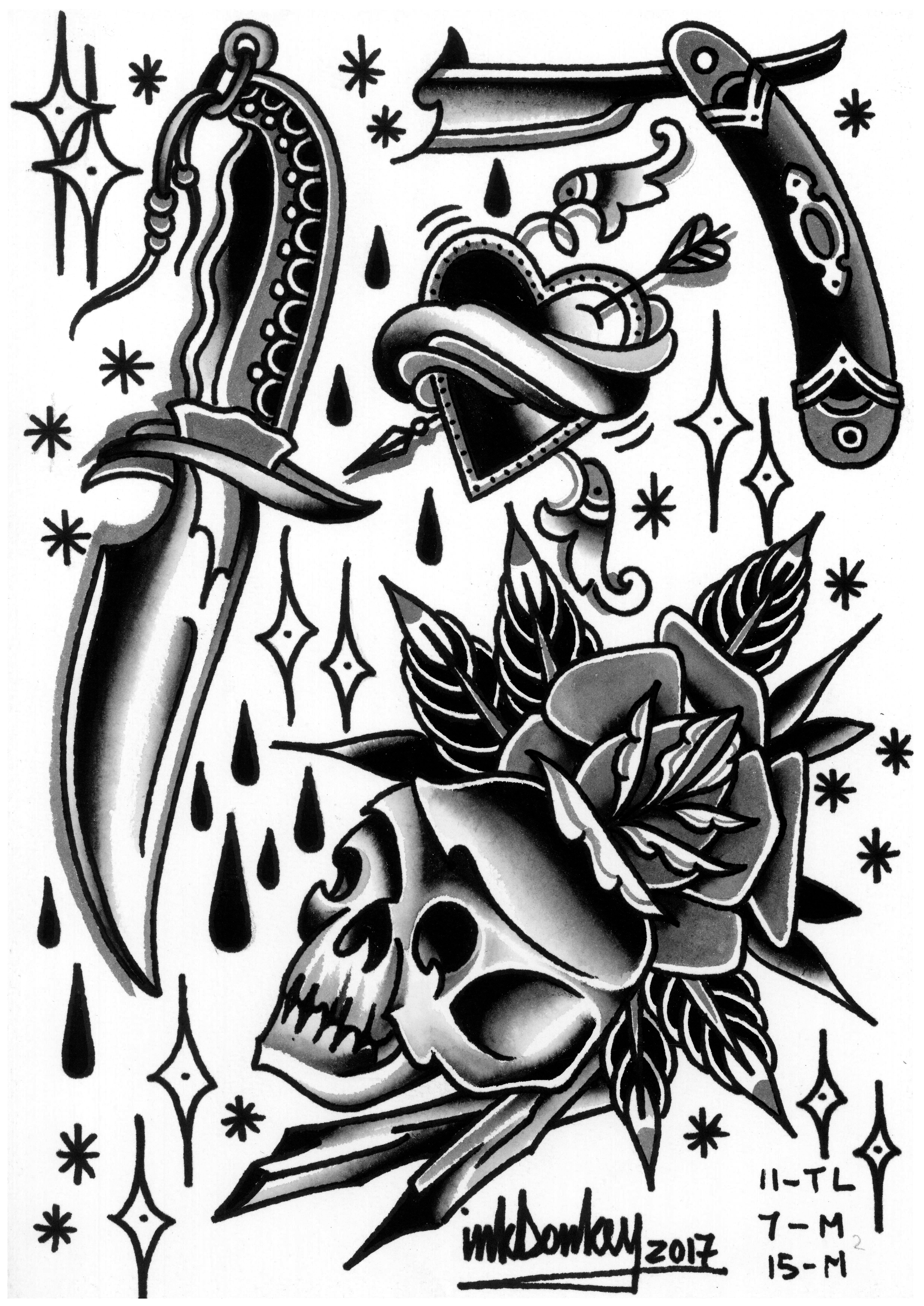 Tattoo Flash Drawing Design Traditional Tattoo Art Flash Tattoo Traditional Dagger Tattoo