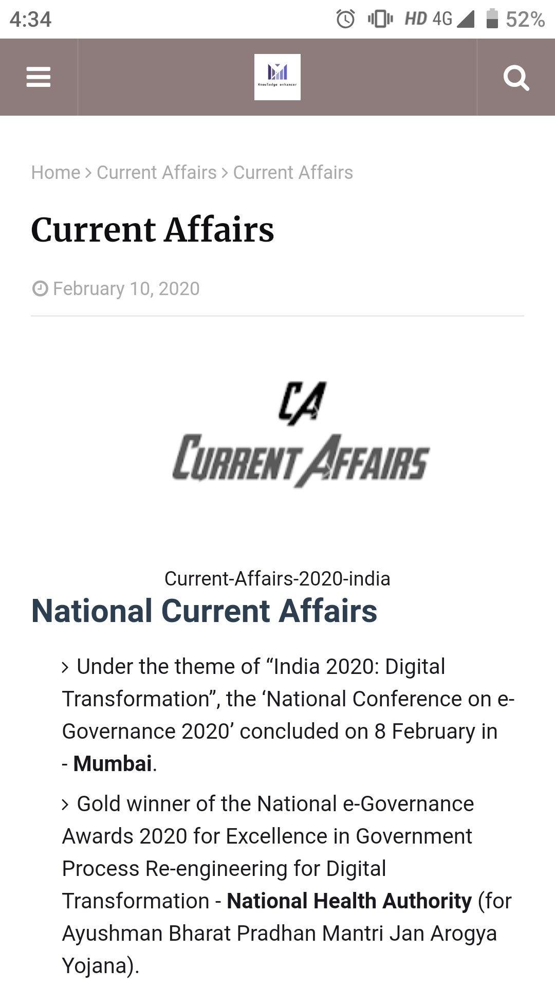 Current Affair In English 10 2 2020 Quiz Education India Essay Affairs