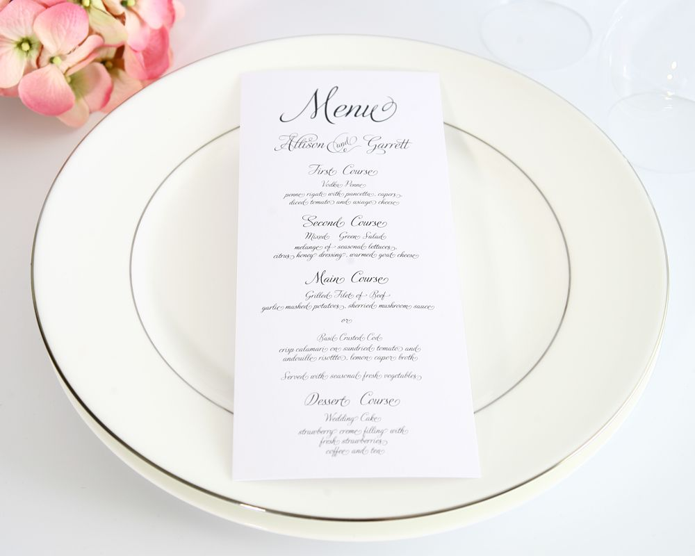 Fairytale Script Wedding Menus  Wedding Stress Table Wedding And