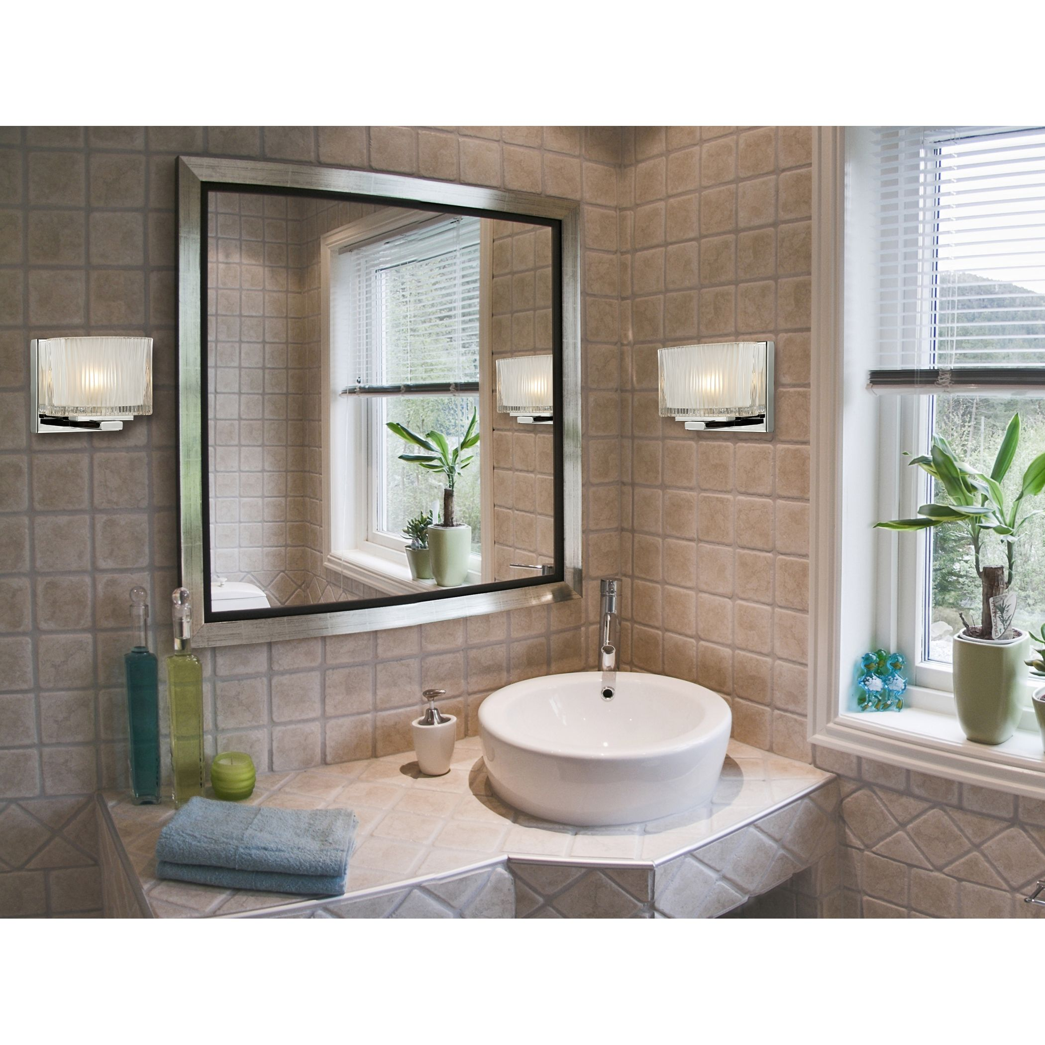 Chiseled Glass 1Light Bath In Polished Chrome  Elk Lighting Glamorous Wall Sconces Bathroom Inspiration Design