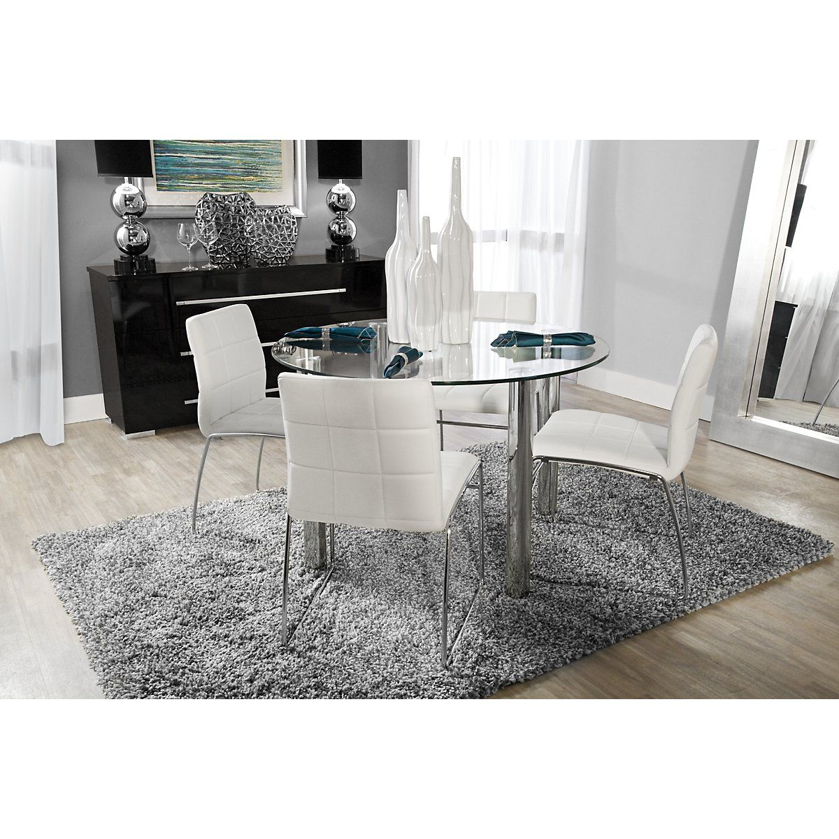 300 00 Set Includes Round Table And Four Side Chairs Update Your Dining E With The Contemporary Napoli Enjoy Aesthetic Beauty Of