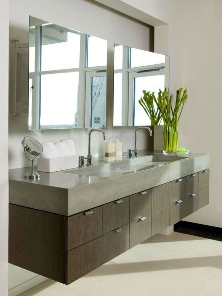 Bathroom , The Modern Bathroom Vanity : Floating Modern Bathroom Vanity  With Poured Concrete Countertop And