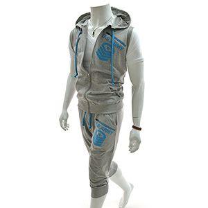 (RBV7S01-GRAY) Slim Zipper Hood Vest Training Jacket 3/4 Baggy Pants Set