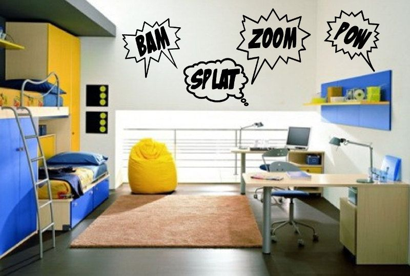 Wall Decal Bam Zoom Pow Splat Set Of Four Comics Super Hero - Superhero wall decals for kids roomssuperhero wall decal etsy