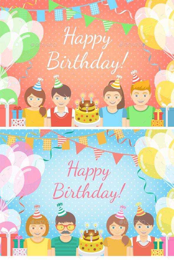 Pink And Blue Kids Birthday Party Backgrounds Party