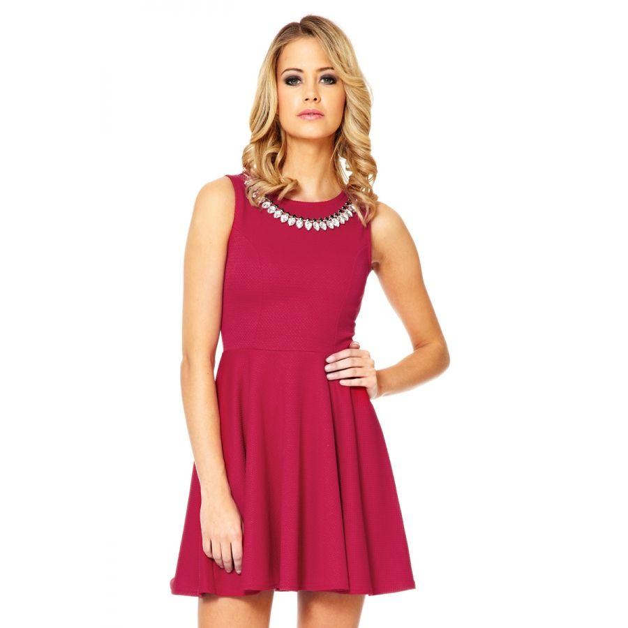 Red necklace skater dress quiz clothing apparel pinterest