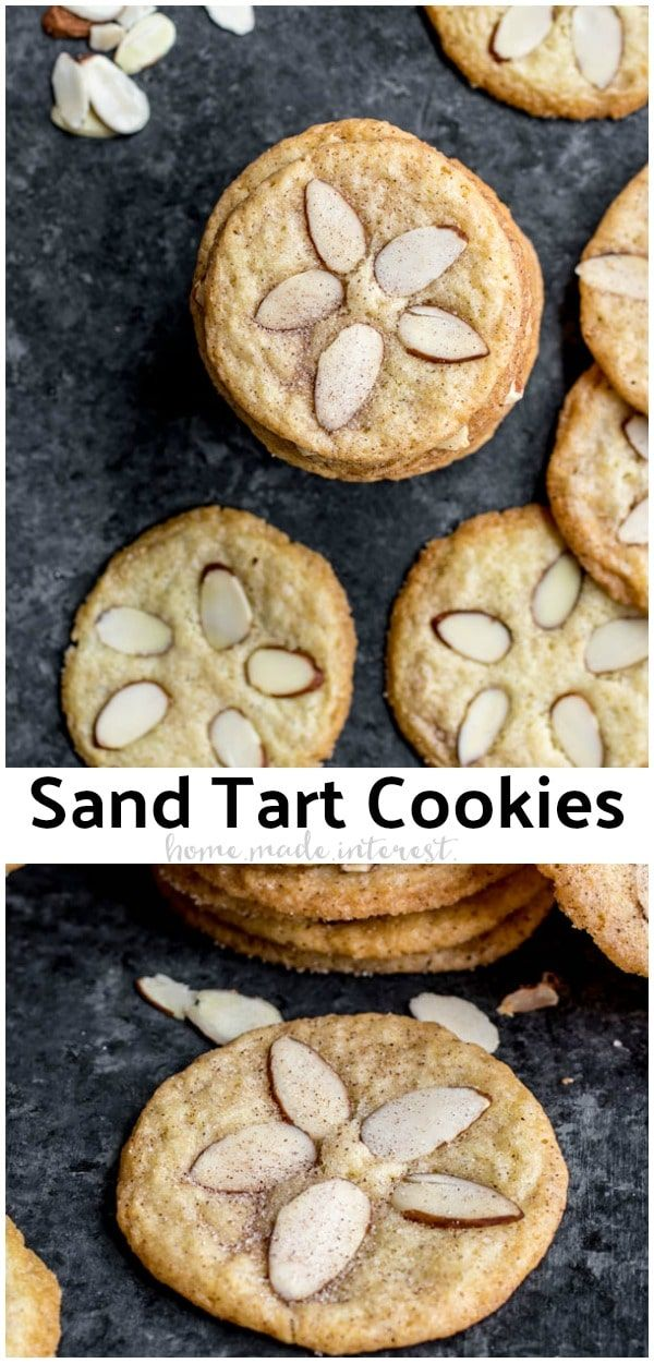 Sand Tarts are thin, crisp, buttery, cinnamon sugar cookies with almond slices on top. This Sand Tart recipe is a Pennsylvania Dutch, or Amish cookie recipe your whole family will love. Make this classic christmas cookie recipe for the holidays and share with friends and family. #cookies #christmascookies #cinnamon #baking #sweettreats #homemadeinterest #cinnamonsugarcookies