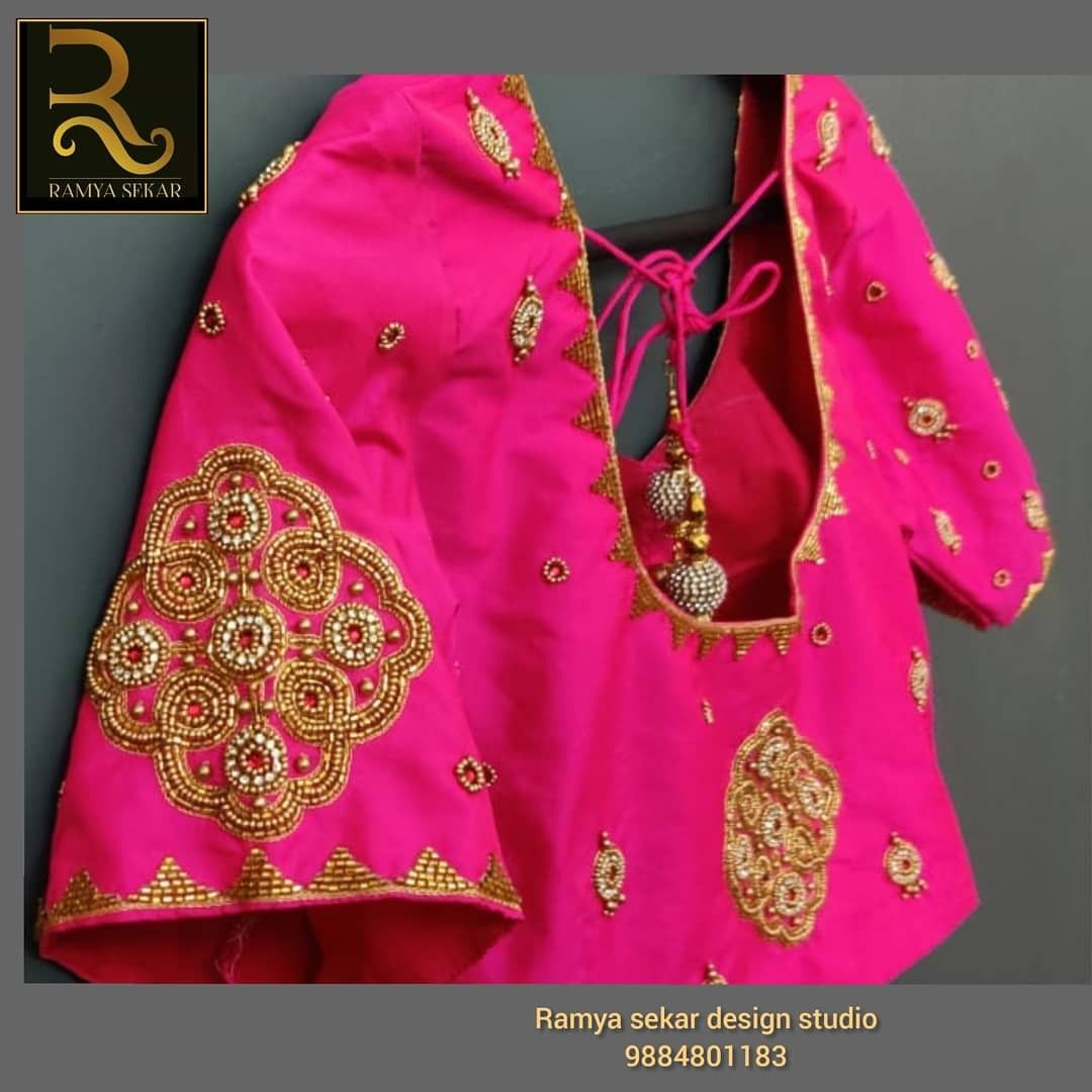 Hand embroidery blouse from Ramya sekar design studio!!Beautiful Bridal blouse from Ramya sekar design studio!!! Look at the beauty we created!! We promise you wont regret choosing us for your bridal blouse!! On time delivery,perfect fit!!! Ramya sekar design studio in valasaravakkam!!! Whats app for placing orders:9884801183 Any color can be customized!!! #wedmegood #southindianbride #aariwork #zardosiwork #indianwedding #boutiqueshopping#southindianbride#fashiondiaries #fashiongoals #indianfas