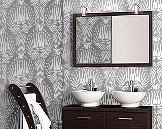 Schablone Für Die Wand Art DECO Flora Muster Von OliveLeafStencils