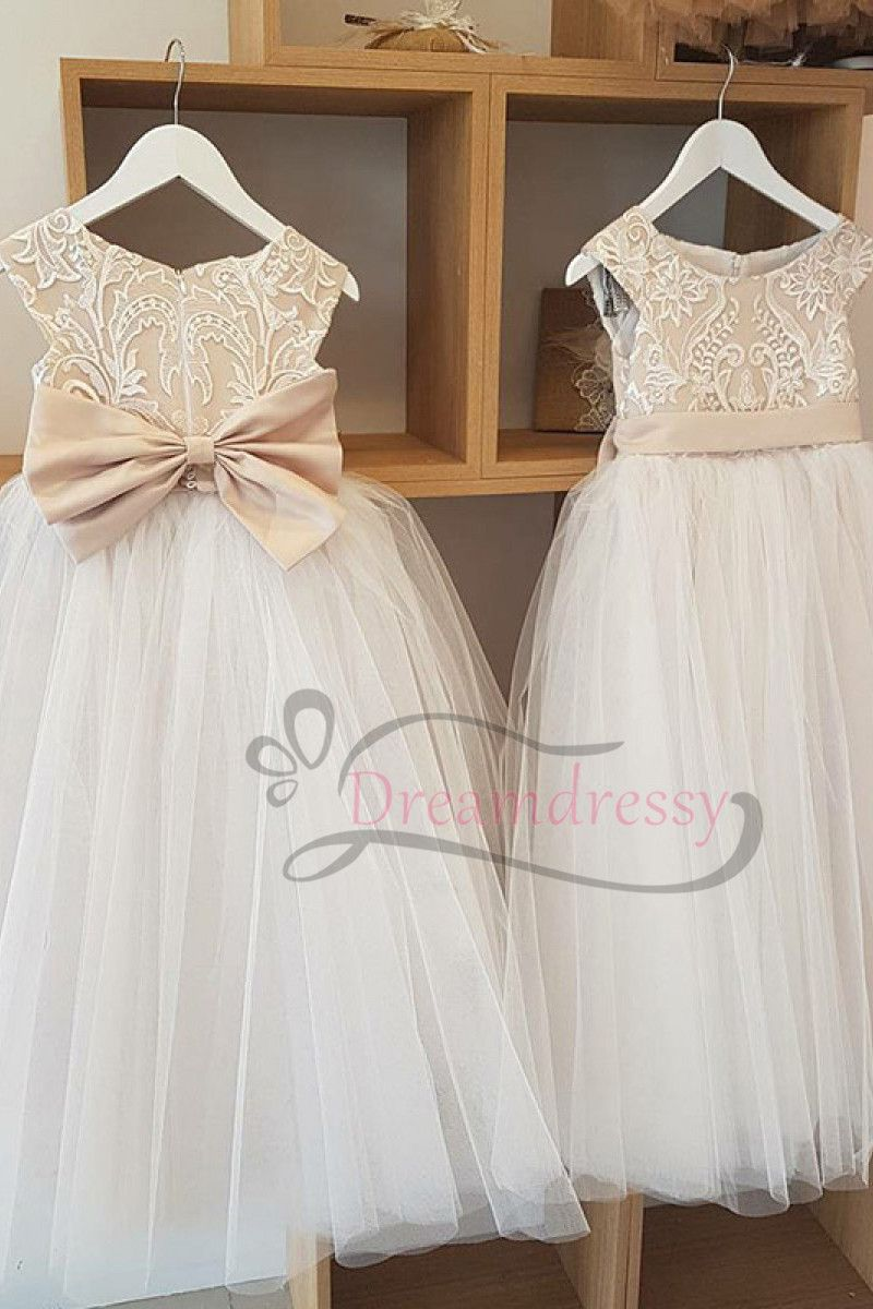 ad10b3cb2a9 A-line Champagne and Ivory Long Flower Girl Dress with Bow in 2019 ...
