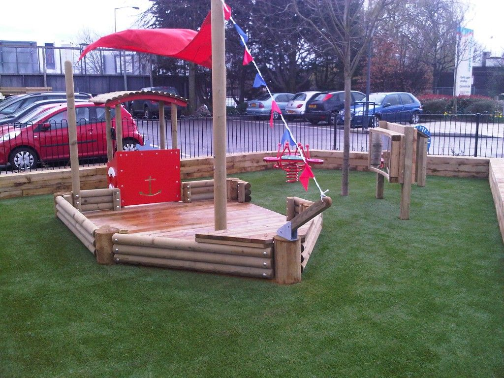 Wooden Pirate Ship Playground | Wooden pirate ship playground equipment  with red sail with artificial .