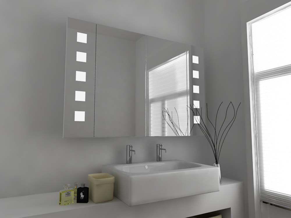 Moderner Beleuchteter Badezimmerspiegel Spiegel Schrank Mit