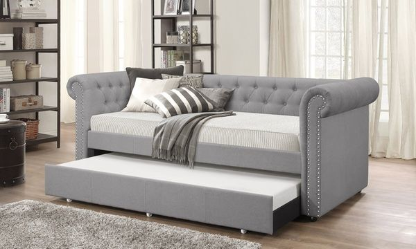 Baxton Studio Mabelle Fabric Upholstered Daybed With Guest