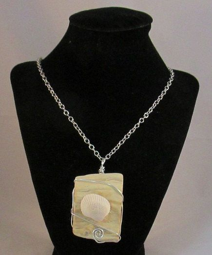 Driftwood and Shell Wire Wrapped Necklace