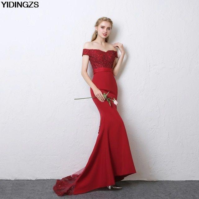 6c8b3ee9aaf YIDINGZS Robe De Soiree Mermaid Wine Red Long Evening Dresses Party Elegant  Vestido De Festa 2019