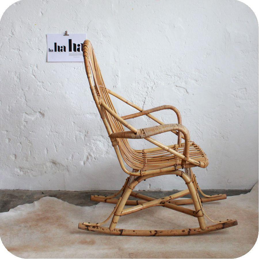 rocking chair vintage rotin e336 home inspirations. Black Bedroom Furniture Sets. Home Design Ideas