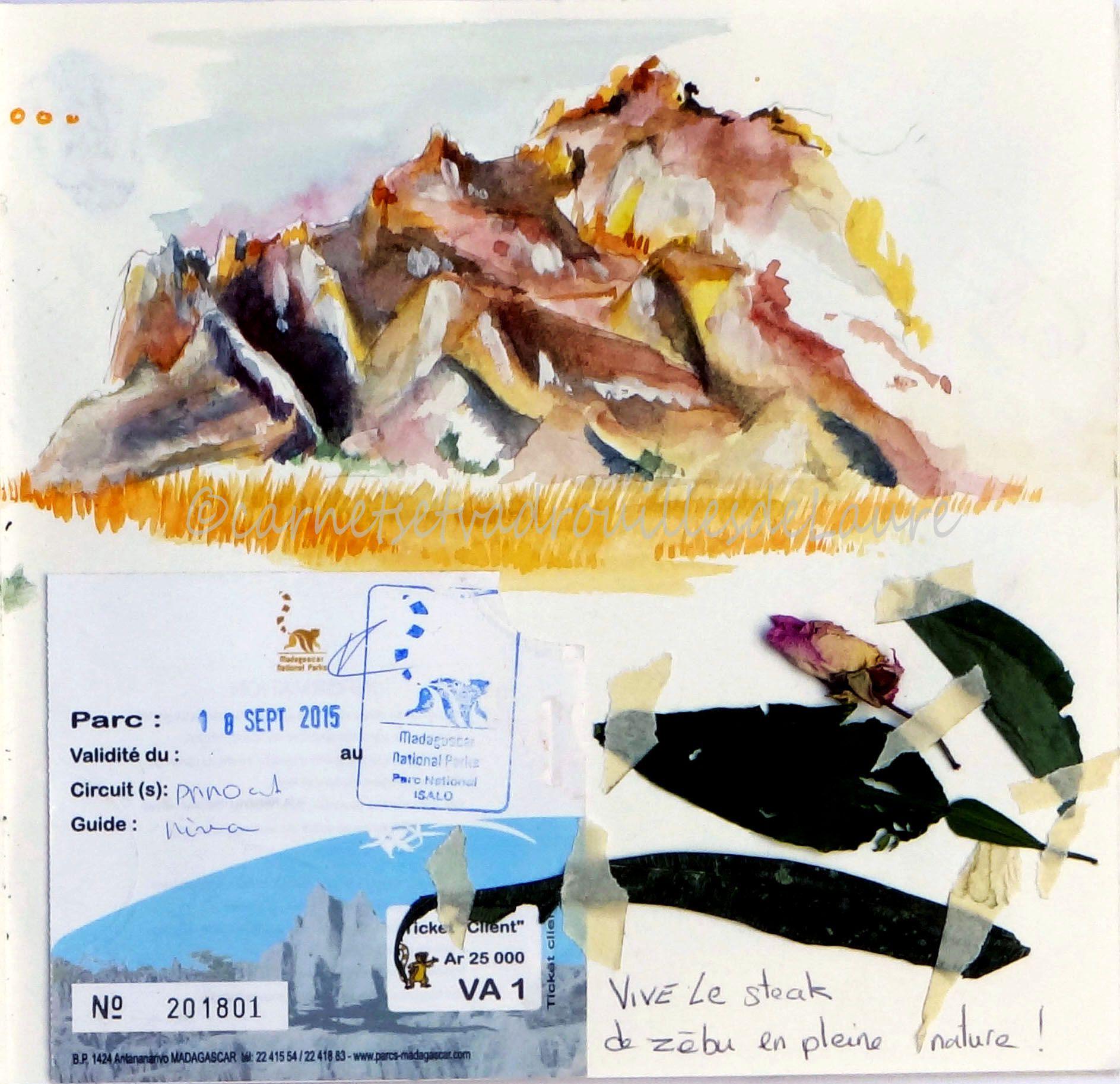 Carnet De Voyage Madagascar Isalo Croquis Aquarelle Du Paysage