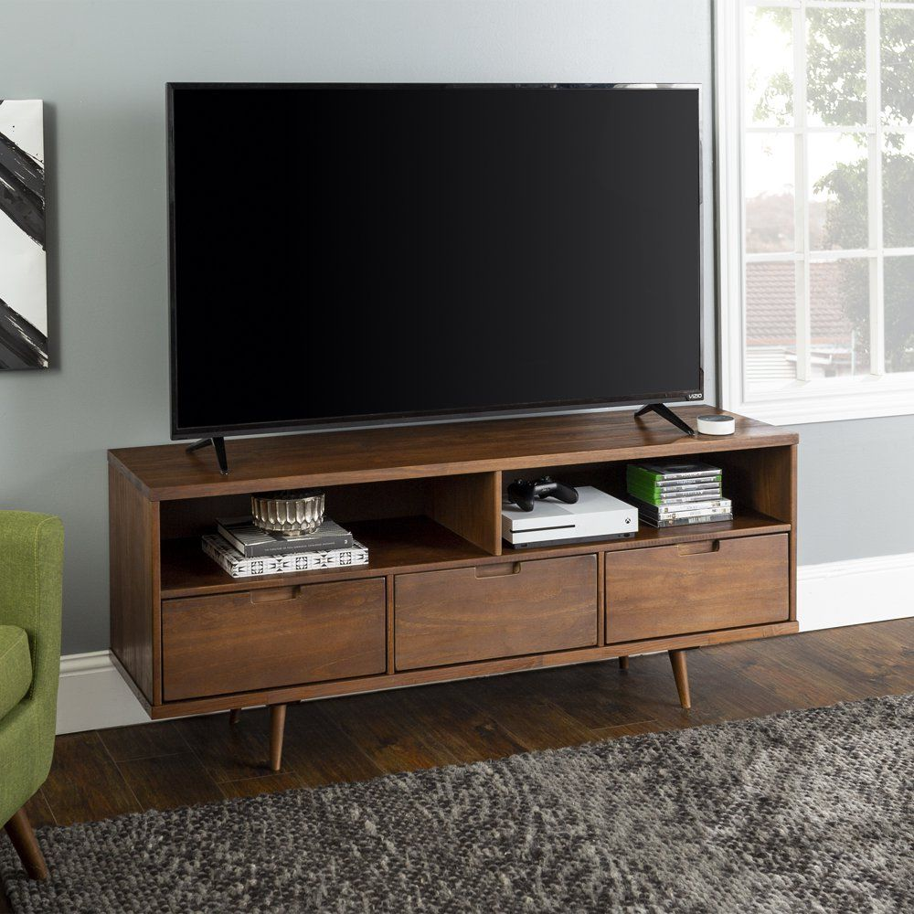 Manor Park Mid Century Modern Tv Stand For Tvs Up To 65 Caramel Walmart Com In 2020 Mid Century Modern Tv Stand Modern Tv Stand Modern Tv
