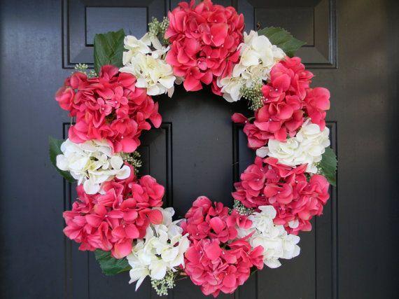 Photo of Articoli simili a VENDITA, rosa primavera ghirlanda, ghirlande di primavera di Ortensia, Ortensia, rosa primavera Decor, porta ghirlanda, corona di fiori, estate ghirlanda su Etsy