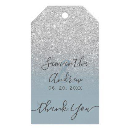 glitter dusty blue script wedding favor gift tags