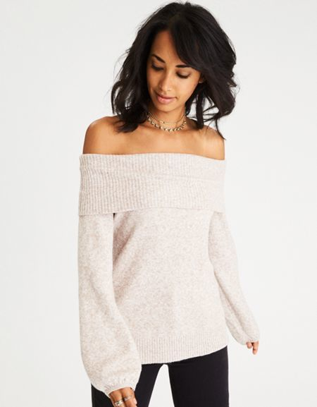 7a6b78bfd3e American Eagle Outfitters AE Off-the-Shoulder Puff Sleeve Sweater ...