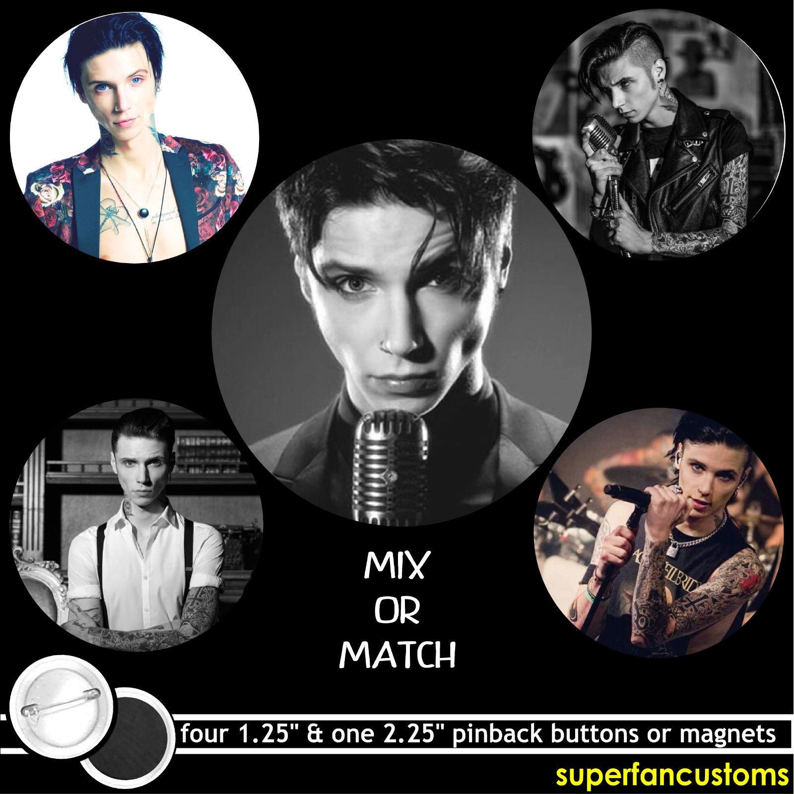 Andy Biersack Set Of 5 Pinback Buttons Or Magnets Black Veil Brides Pins #1512