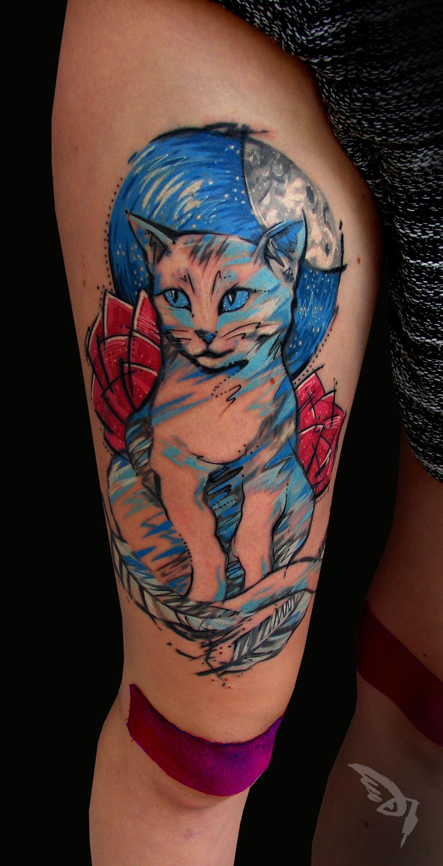 cat let tattoo Vegan tattoo, Tattoos, Ink sketch