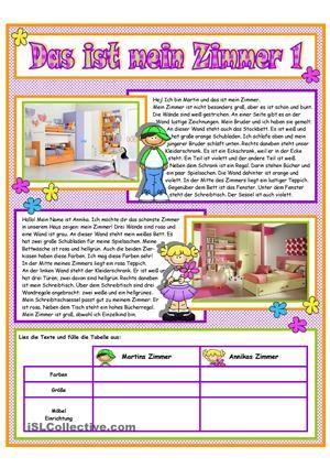 mein zimmer 1 alem n textos oraciones 2 deutsch deutsch bungen y arbeitsbl tter deutsch. Black Bedroom Furniture Sets. Home Design Ideas