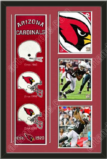 One framed Arizona Cardinals heritage banner with three 8 x 10 inch Arizona Cardinals photos of Larry Fitzgerald , double matted in team colors to 22 x 34 inches.  The lines show the bottom mat color.  $189.99 @ ArtandMore.com