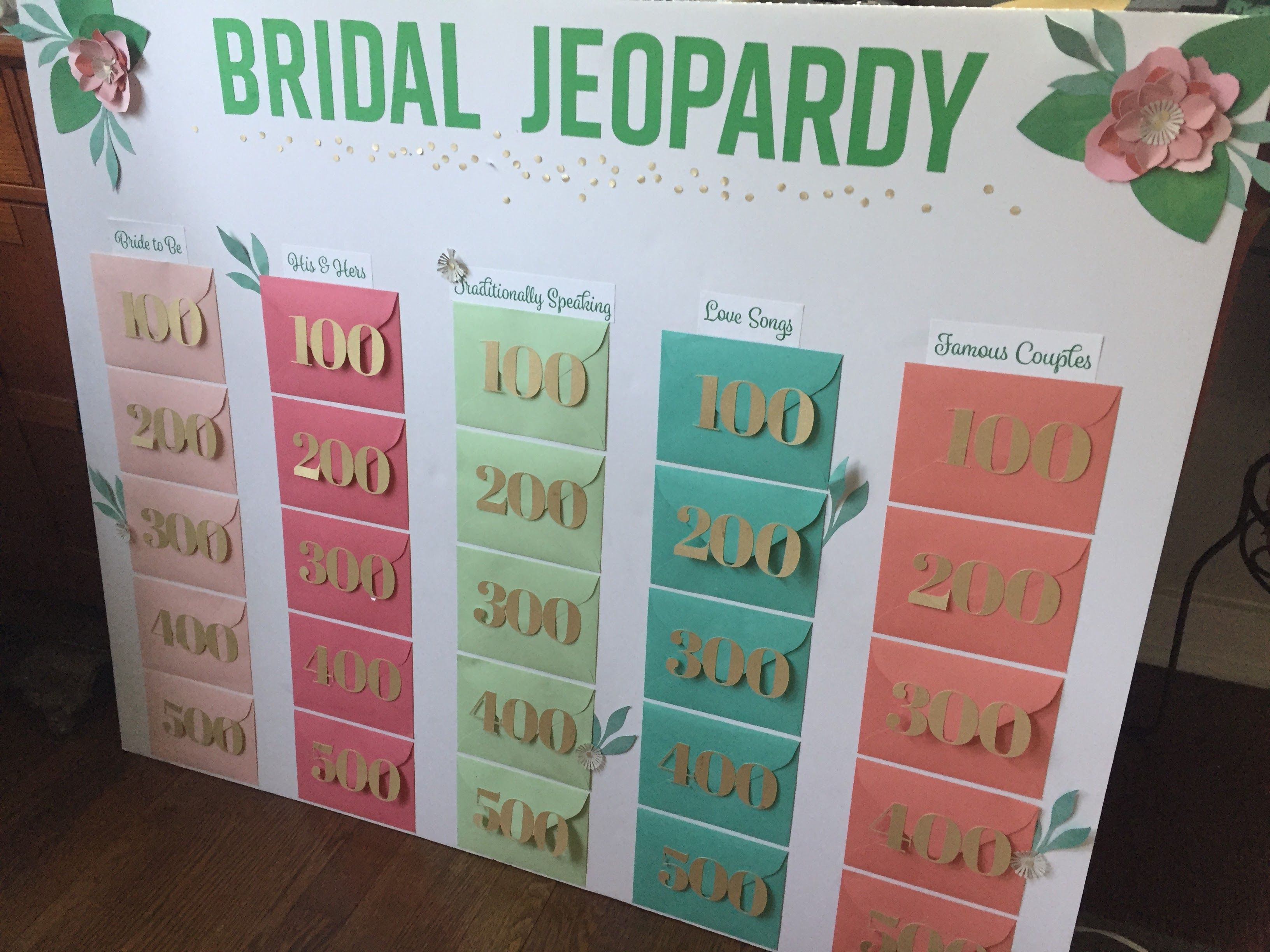 DIY Floral Bridal Shower Jeopardy Game #cricut