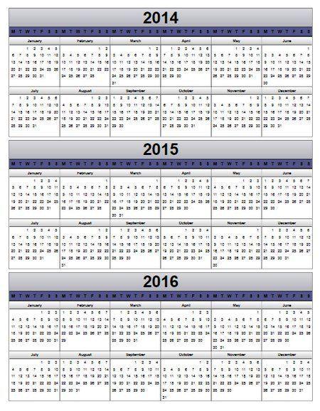 Calendar for 2014 2015 2016 Multi Year Calendar 2014 2015 2016