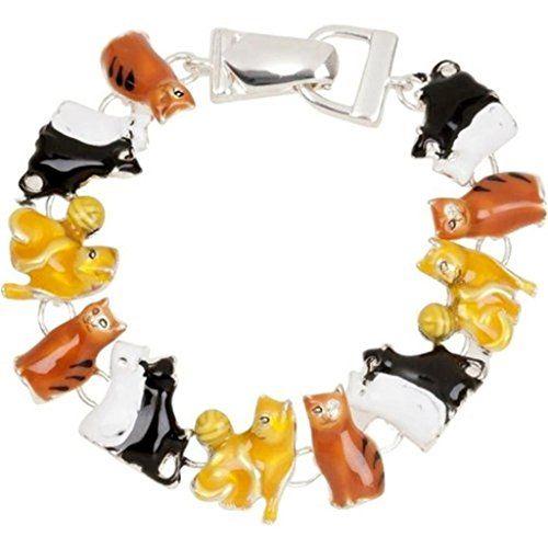 Cat Charm Bracelet C23 Black White Browns Magnetic Clasp Silver Tone Recyclebabe http://www.amazon.com/dp/B00SP1YJGM/ref=cm_sw_r_pi_dp_EedXub042WVXG