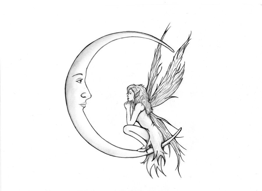 Line Drawing Moon : Fairy drawings and moon by cherry pi on