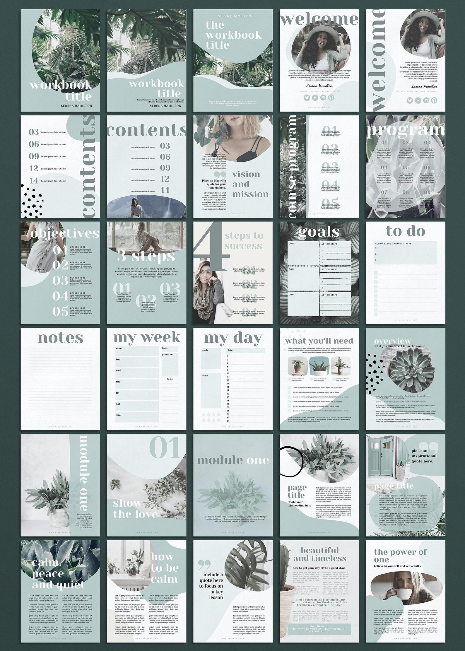 Canva Ebook Template, Workbook Template, Mindfulne