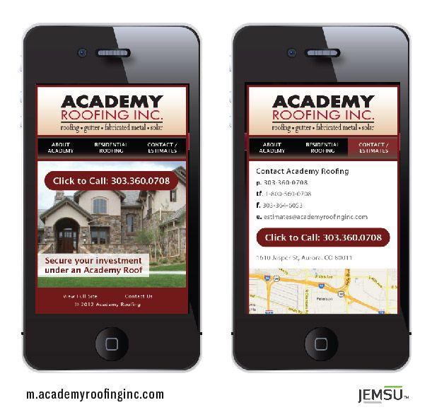 Mobile version of AcademyRoofingInc.com, condensed for mobile user on