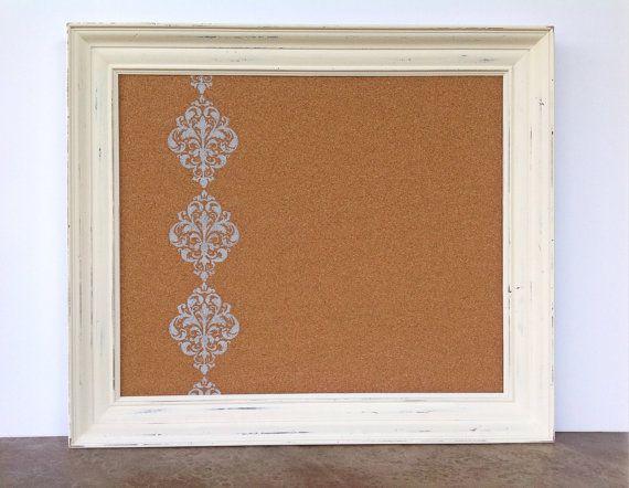 White framed bulletin board - shabby chic decor - large | Shabby ...