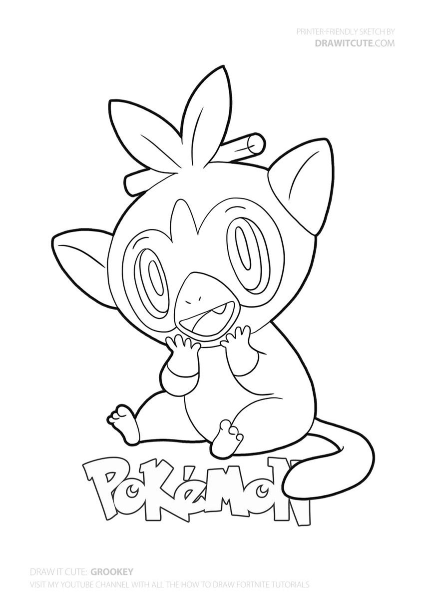 Grookey Coloring Page Pokemongo Pokemon Drawitcute Howtodraw Coloringpages Fanart Wallpa Pokemon Coloring Pages Cartoon Coloring Pages Pokemon Coloring