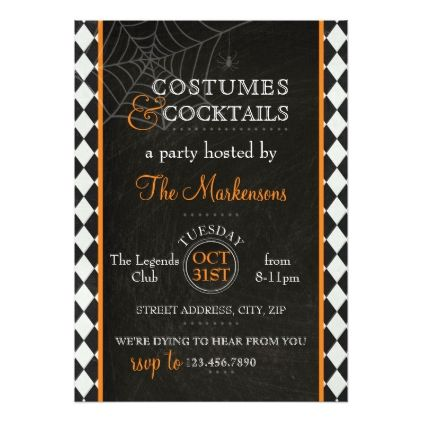 #Harlequin Halloween Invitation- Orange Card - #Halloween happy halloween #festival #party #holiday