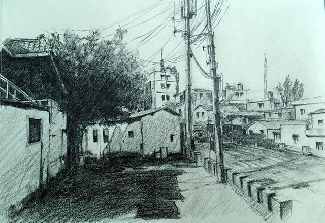 Sketch Drawing 연필드로잉 연필 소묘 스케치 드로잉 풍경 도시 거리 Scape City 부산 그림 Art 미술 Street Building Pencil 연필스케치 4b Outdoor Road Alley