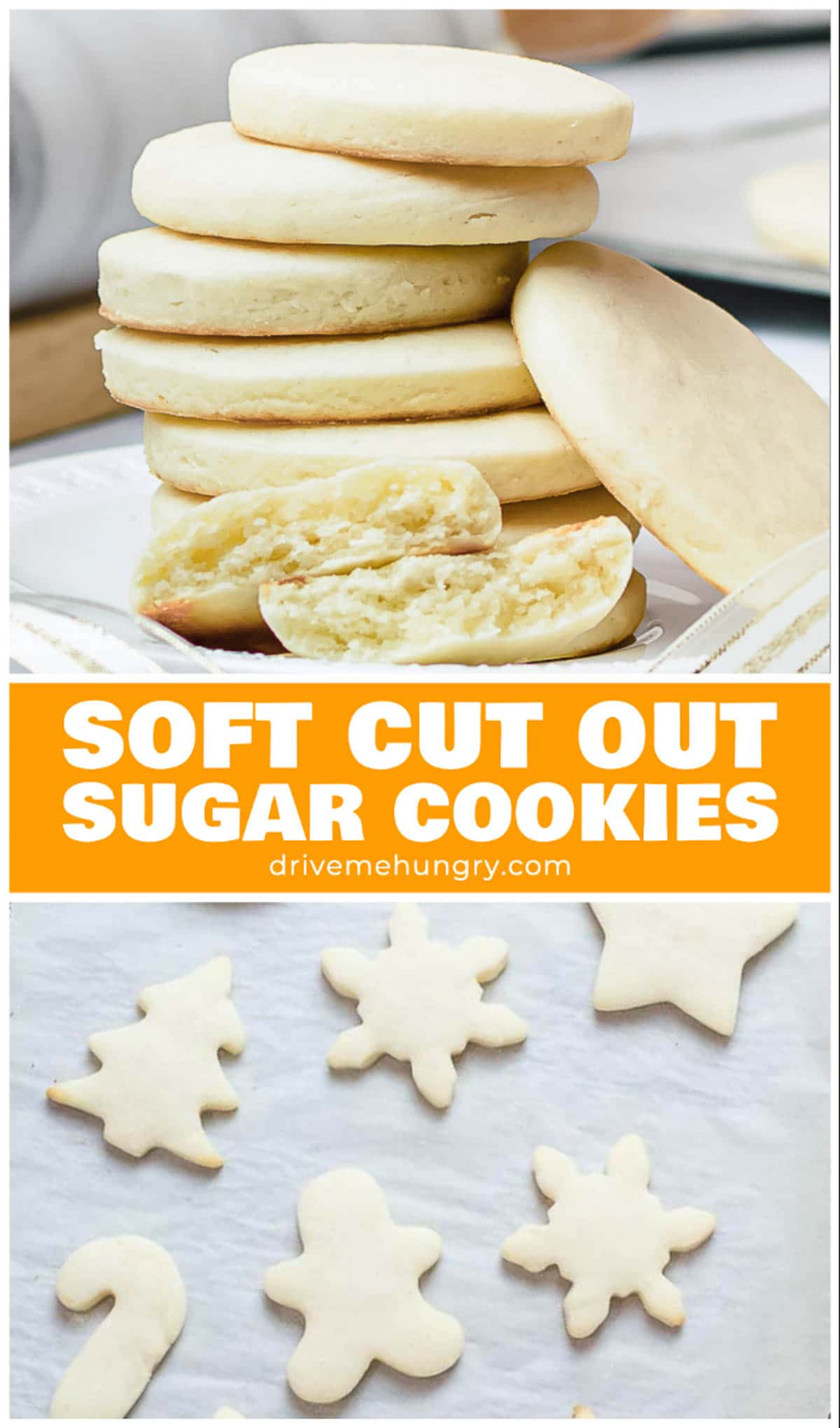 The softest cut out sugar cookies that melt in your mouth & hold their shape. These soft cream cheese sugar cookies are perfect for decorating with icing! #sugarcookies #cookies #softcookies #drivemehungry | drivemehungry.com