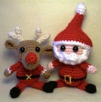 Free Amigurumi Patterns: Crochet Santa and Rudolph the Red Nosed Reindeer