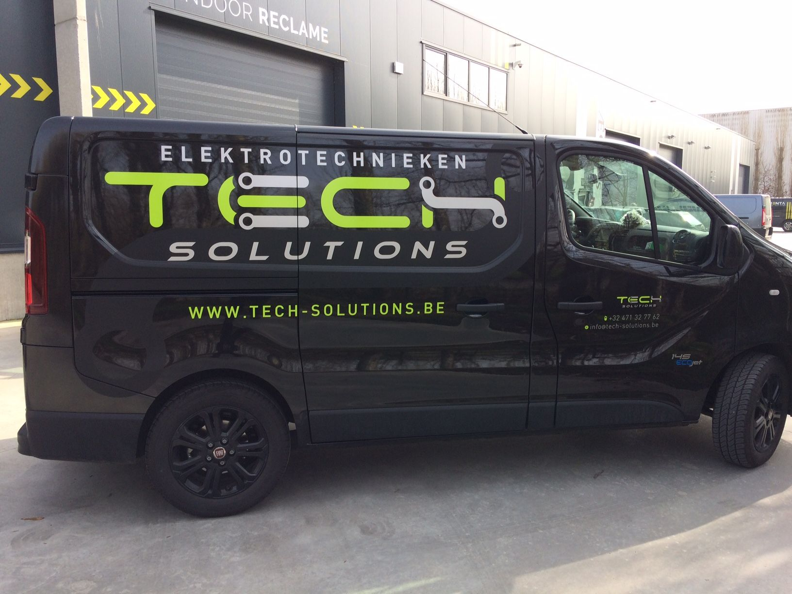 Commercial Vehicle Signage Van Signwriting Van Signage For Tech Solutions Lime Green Matte Black Aluminium Metallic Commercial Auto Tech [ 1224 x 1632 Pixel ]