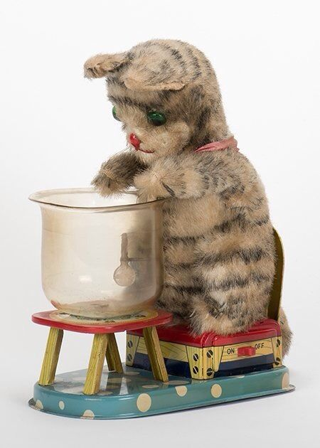 VINTAGE+HUNGRY+CAT+MECHANICAL+TOY+BY+LINEMAR+   Kelley's Kat