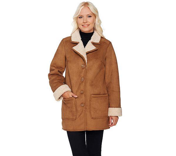 Denim & Co. Faux Shearling Barn Jacket w/ Notch Collar | Products ...