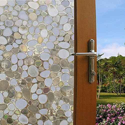 Coavas Non-Adhesive 3D Static Pebbles Decorative Translucent Glass Film For Glass Door/Mall & Coavas Non-Adhesive 3D Static Pebbles Decorative Translucent Glass ...