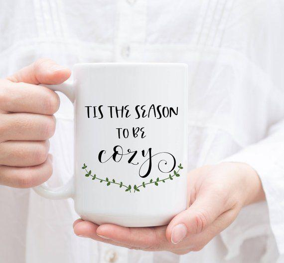 Photo of Tis the Season to be Cozy. Winter Coffee Mug, Christmas Gift, Holiday Mug with Gift Box.
