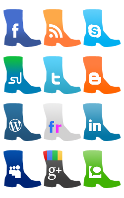 Boot style social media icons : Boots are always in vogue and boot styled social media are so. Yes!! This pack of finely polished boot styled social media icons is sure to get noticed and draw immense attention from visitors to your blog or website.