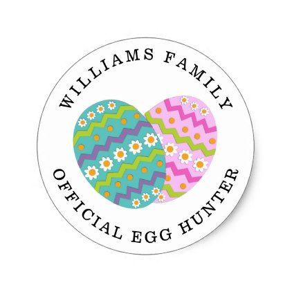 Easter official egg hunter add family name classic round sticker easter official egg hunter add family name classic round sticker family gifts love personalize gift negle Gallery